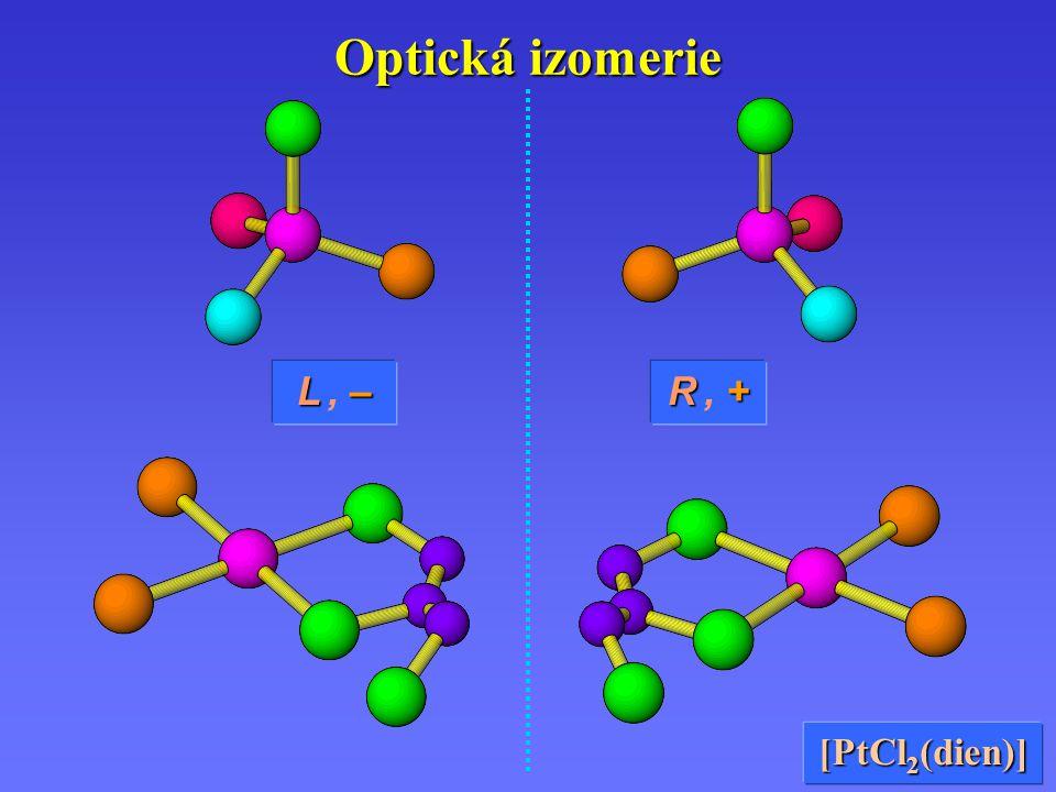 Optická izomerie L , – R , + [PtCl2(dien)]